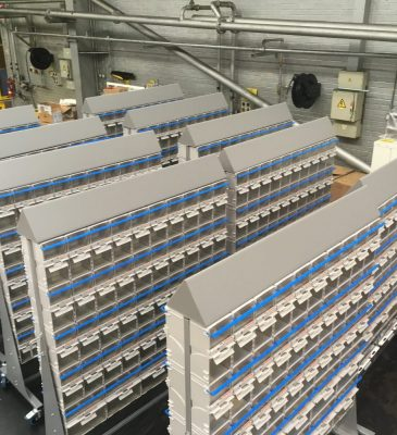 TwinBin Racking Systems with headers for implementing stock control on the shop floor.