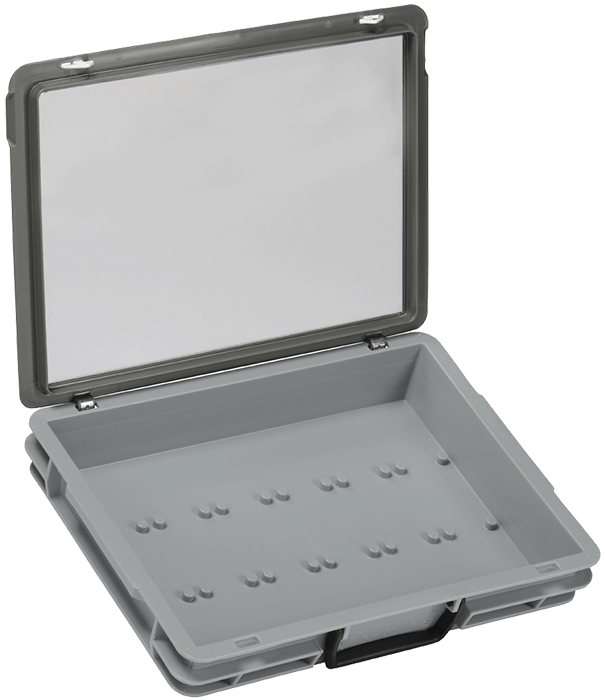 Kitting case showing location pegs