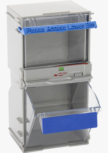 TwinBins with company branded accessories : two-bin kanban system saving time, money & effort while controlling your inventory.